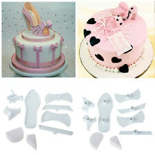 9pcs Fondant Cake Plastic Lady High-Heeled Shoes Bake Mould Mold Cutter Kitchen