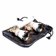 3x25 Opera Watching Brass Binocular W/Handle Glasses Coated Lens Optic Telescope