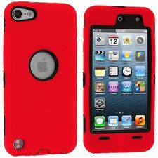 Hybrid Hard Silicone Case for iPod Touch 5th Gen - Black/Red