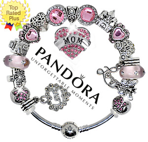 AUTHENTIC Pandora Bracelet Silver with Pink LOVE MOM Crystal European Charms