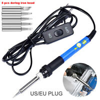 Electric Soldering Iron 60W Adjusted Temperature Welding Kit w/Switch+ Iron Head