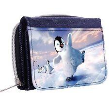 Happy Penguin Denim Tri-Fold Half Wallet w/ ID Window Button