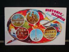 Vintage Postcard Historic Illinois, Land of Lincoln, Tourist Souvenir Card c1976