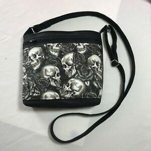 Dead Of Skull Rose Flower Round Leather Shoulder Bag Fashion Lady Crossbody Wallet Adjustable Top Handbag For Women Girl