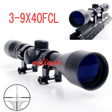 3-9x40 Mildot Optic Lens Scope Sight 20mm Rail Mounts For Rifle Hunting