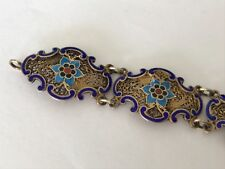 Antique Vintage silver gilt Chinese filigree enamel bracelet.