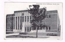 IA Carroll Iowa antique 1947 post card High School Auditorium