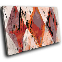 ZAB945 Retro Orange Grey Modern Canvas Abstract Home Wall Art Picture Prints