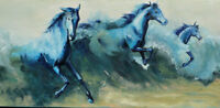 CUOP547 fancy abstract blue horses hand painted oil painting on canvas wall art