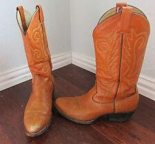 Men's Vintage Sheplers Orange Leather Western Cowboy Boots Size 9.5D