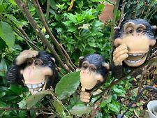HEAR SEE SPEAK NO EVIL Peeking Monkey Garden Sculpture Hanging Tree Hugger GIFT