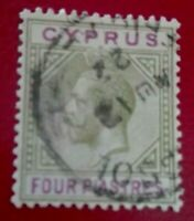 Cyprus:1921 -1923 King George V - 4 Pia Rare & Collectible stamp.