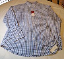 Mens Izod Basix 49901 Shirt L/S button up shirt XL American Dream white blue nvy