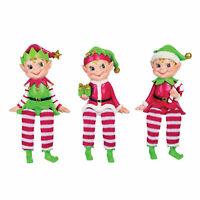Set/3 Transpac Red Green Elf Christmas Elves Shelf Sitter Retro Vntg Style Decor