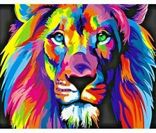Colorful Lion Animals Paint Diy Digital Painting By Number Decor Art Abstract