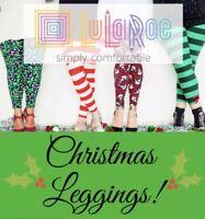 LuLaRoe Kids' Christmas Mystery S/M Leggings Santa Stockings Snow Pets Reindeer