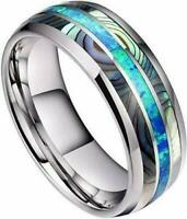 Wedding Titanium steel Inlay 8MM Shell Carbide & Abalone Ring Jewelry Men's Band
