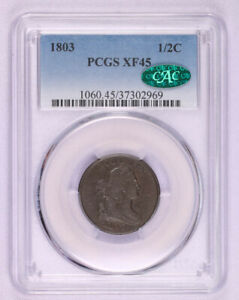 1803 DRAPED BUST HALF CENT COPPER COIN PCGS XF45 CAC