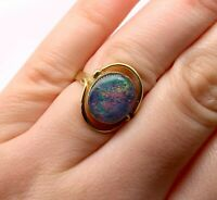 Vintage Opal Ring 9ct Yellow Gold Doublet Opal Stone Preloved RRP $990