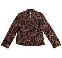 LIZ JORDAN Womens Leopard Print Jacket Size Small