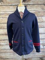 Dehen Wool Cardigan Varsity Sweater Size L 1920 Shawl Collar Dark Blue
