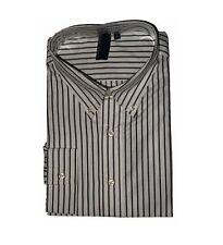 TRUE ROCK Men's Dress Shirt XL White / Gray Stripes Long Sleeves JFK108