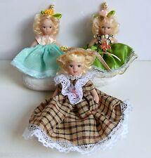Lotto 3 bambole bamboline ceramica collezionismo doll regalo gift