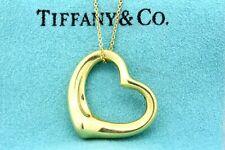 "Tiffany & Co. Open Heart Pendant Elsa Peretti 18k Yellow Gold 27mm 1 1/8"""