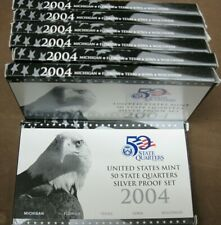 (7) 2004 90% Silver United States Quarter Proof Sets With COA
