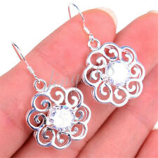 925 Sterling Silver Tarnish-Resist See-through 19mm SunFlower Crystal Earrings