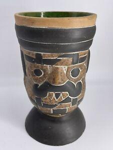 Clay Tiki Vase Green Totem Folk Art Cup Hand Painted Mug Mexican Aztec Mayan EUC
