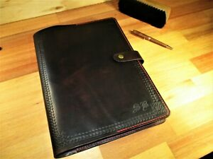 A4 Vintage Look Leather Journal, Personalized Name   Diary. Book Cover Gift.