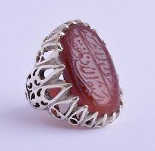 Yemeni Yemen Islamic agate aqeeq aqiq 925 sterling Silver Men Ring-DHL