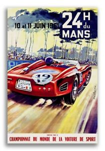 1961 Vintage Style Auto Racing 24 Hours of Le Mans Poster - 24x36