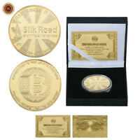 WR 24K Gold Silk Road Bitcion Physical BTC Coin Collectibles In Gifts Box