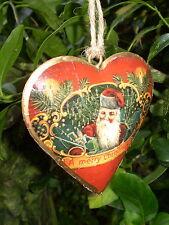 Hermoso danés Colgante Vintage Navidad Corazón Decoración, Diseño A2