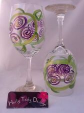 2 Hand-Painted Purple and Green Turtle Wine Glasses