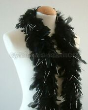 Black w/ Silver Tinsels 45 Grams Chandelle Feather Boa Dance Party Halloween