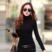 Women Solid Cotton Spandex Long Sleeves Turtleneck T-Shirt Tops Blouse Sweater