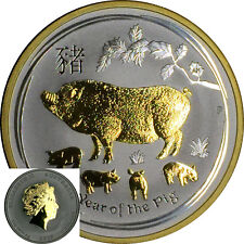 2019 Australia 1 oz Silver Lunar Pig 24K Gilded Gold STUNNING + Capsule Perth