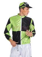 OP 224g Mens Costume Fancy Dress Horse Riding Jockey Cup Green Black Size S - XL