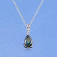 14k White Gold Finish Teardrop Pendant Necklace 2.00 Ct Mystic Topaz & Diamond