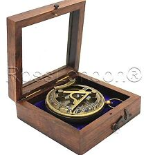 BRASS Sundial BUSSOLA-POCKET Sundial con legno Box