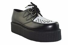 Steel Ground Black White Leather Creepers High Sole D Ring Shoes Rock