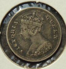 1885 HONGKONG (QUEEN VICTORIA) TEN (10) CENTS SILVER COIN   (H-56)