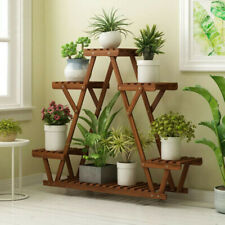 More details for wood plant stand indoor outdoor carbonized triangle 6 tiered corner plant rack