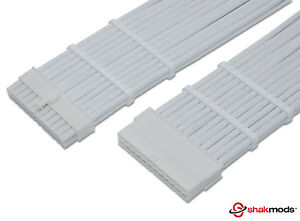 24pin ATX Motherboard 30cm Full White Sleeved Extension + 2 Cable Combs Shakmods
