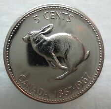 1967 CANADA 5 CENTS PROOF-LIKE NICKEL COIN