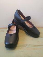 Kumfs  Womens Mary Jane Black Leather Comfort Shoe Adjustable Strap Size 38.5 XW
