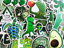 50 Green Animals Kermit Avocado Watercolor Cute Laptop Stickers For Teens Kids